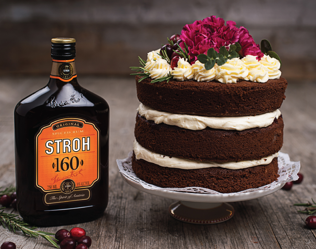 This chocolate naked rum cake is sure to impress your guests. #Stroh160